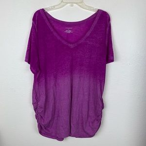 Lane Bryant Ombre Paint Dip Ruched T Shirt Blouse